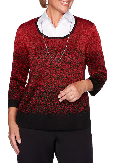 Alfred Dunner Womens Classics Ombre 2Fer Sweater