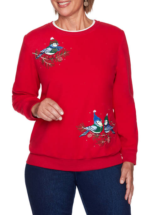 Alfred Dunner Womens Classics Christmas Birds Anti Pill