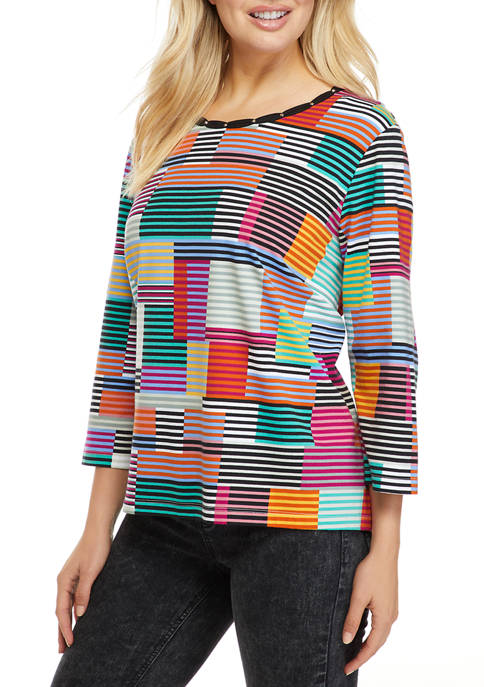 Plus Size Classics 3/4 Sleeve Textured Boxes Printed Top