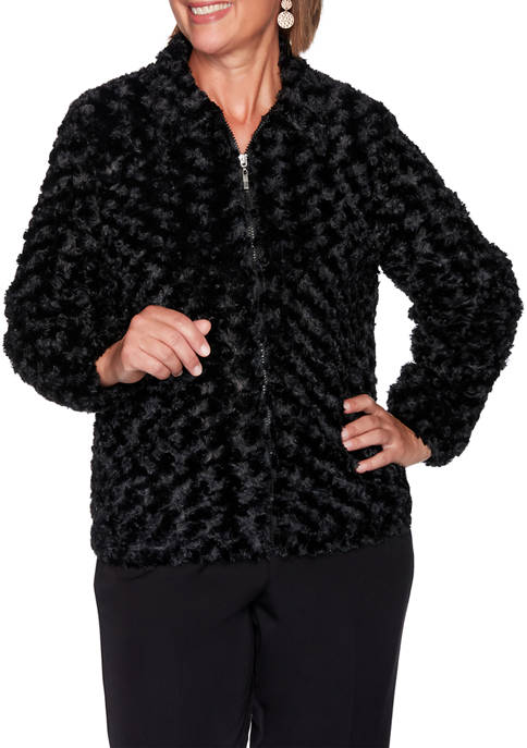 Alfred Dunner Plus Size Classics Faux Fur Jacket