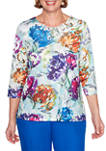 Plus Size Classics 3/4 Sleeve Watercolor Floral Top