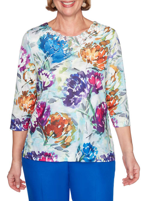 Alfred Dunner Plus Size Classics 3/4 Sleeve Watercolor