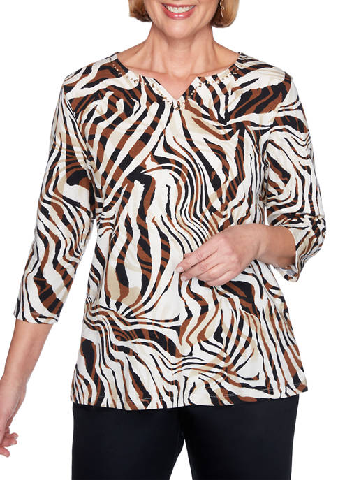 Alfred Dunner Plus Size Classics 3/4 Sleeve Zebra