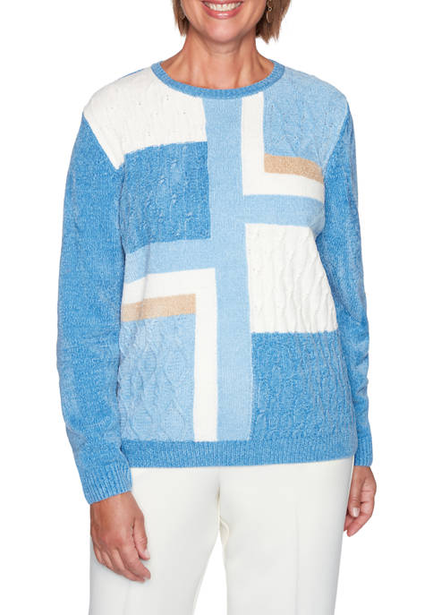 Alfred Dunner Plus Size Classics Color Block Chenille