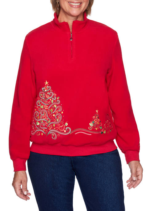 Alfred Dunner Plus Size Classics Christmas Tree Top