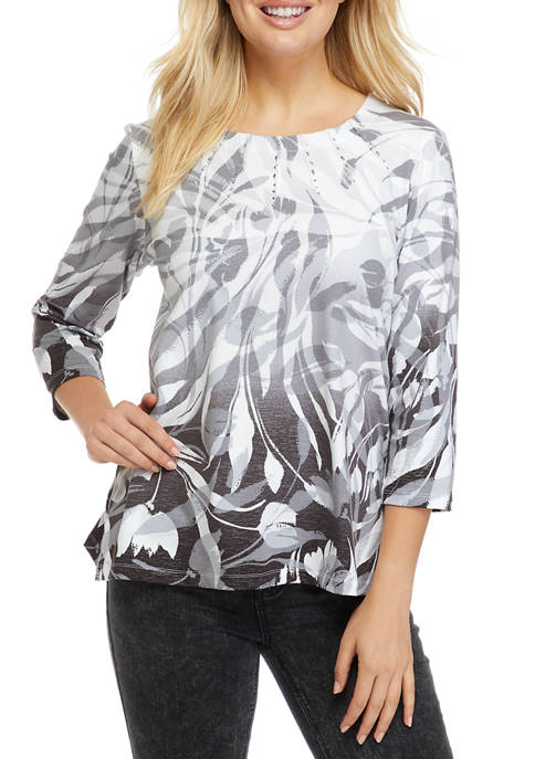 Alfred Dunner Petite Classics Ombre Swirl Knit Top