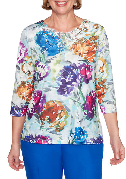 Alfred Dunner Petite Classics Watercolor Floral Top