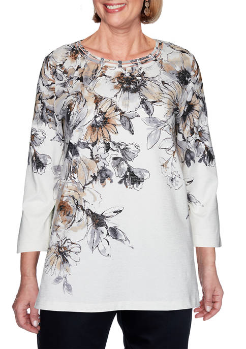 Alfred Dunner Petite Classics Floral Yoke Top