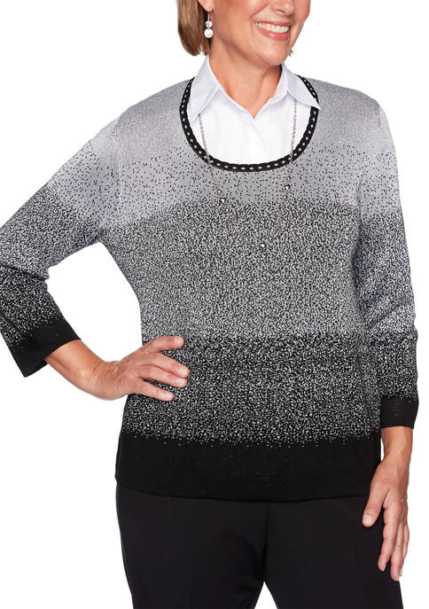 Alfred Dunner Petite Classics Ombré 2Fer Sweater