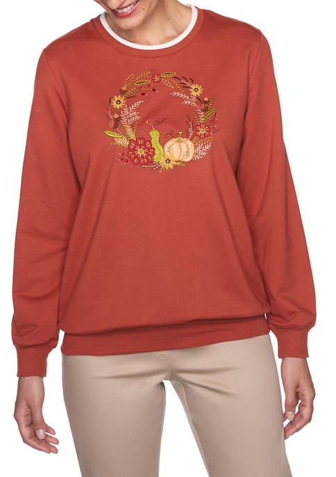 Alfred Dunner Petite Classics Center Wreath Top