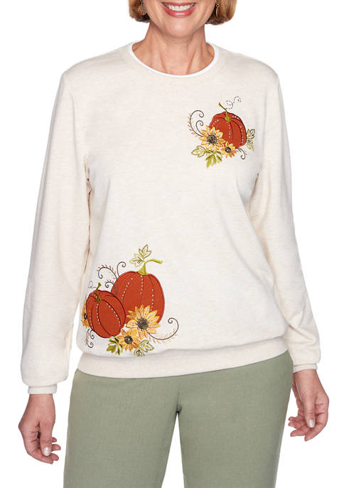 Alfred Dunner Petite Classics Birds Front Knit Pullover