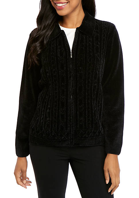 Alfred Dunner Classic Zip Front Chenille Cardigan