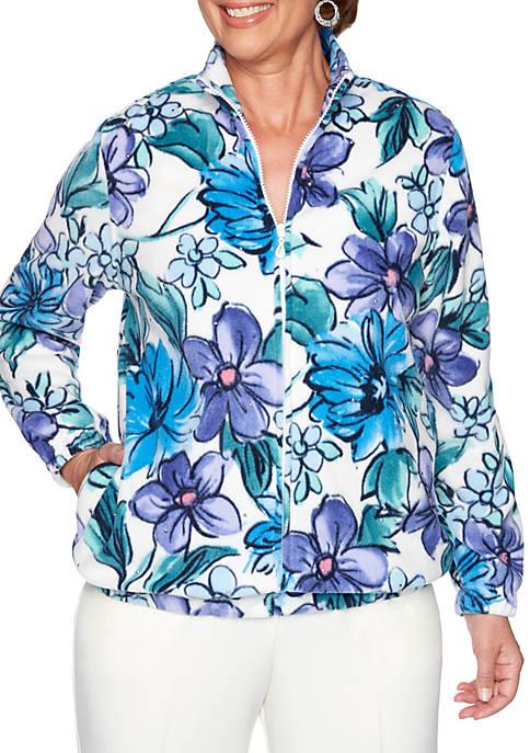 Alfred Dunner Classics Floral Polar Fleece Jacket