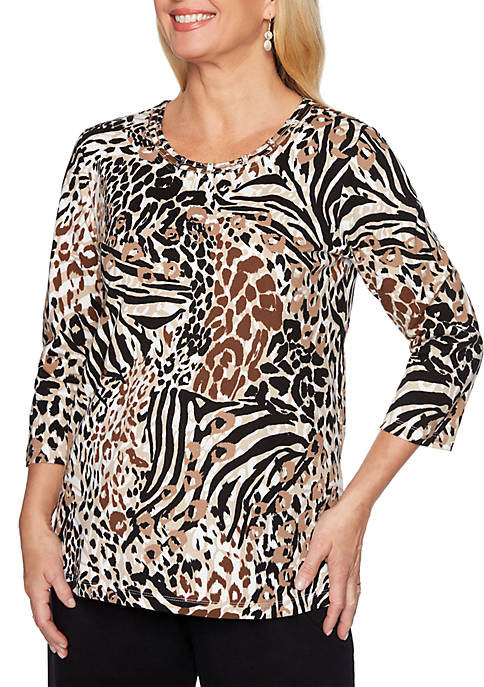 Alfred Dunner Classic Animal Print T-Shirt