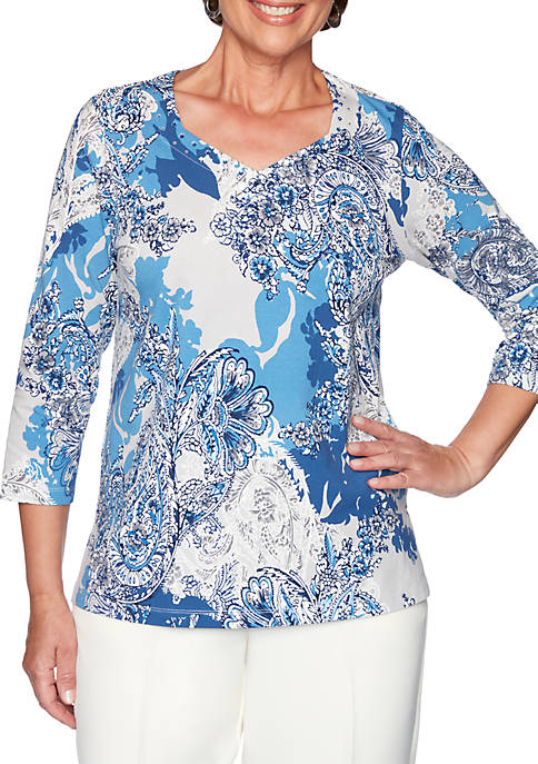 Alfred Dunner Classic Asymmetric Floral T-Shirt