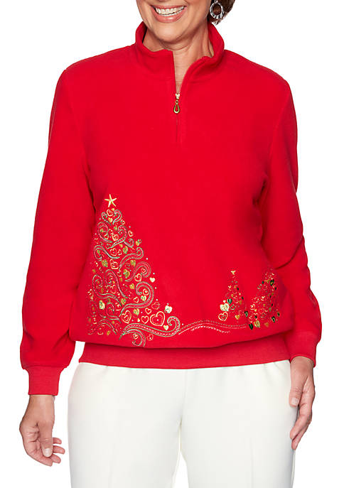 Alfred Dunner Classics Holiday Tree Embroidered Sweater