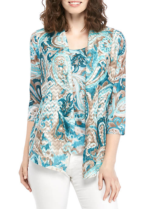 Alfred Dunner Classic Paisley Print 2Fer Sweater
