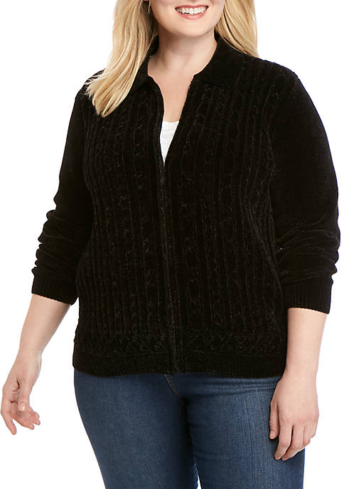 Alfred Dunner Plus Size Classics Chenille Cardigan