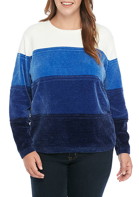 Alfred Dunner Plus Size Chenille Ombre Pullover