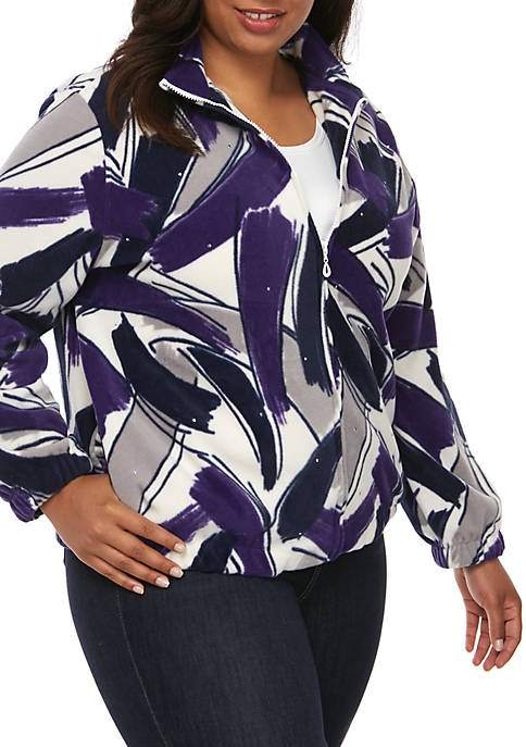 Alfred Dunner Plus Size Brushstroke Print Jacket