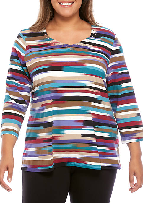 Alfred Dunner Plus Size Floral Stripe Knit Top