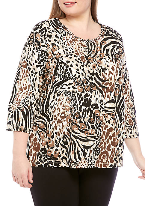 Alfred Dunner Plus Size Animal Print Top