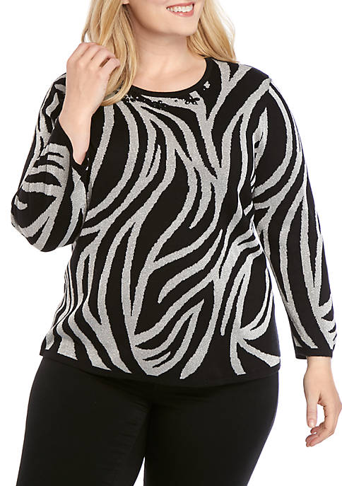 Alfred Dunner Plus Size Classics Animal Print Lurex