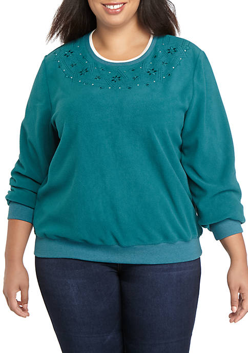 Alfred Dunner Plus Size Classics Embroidered Yoke Sweater