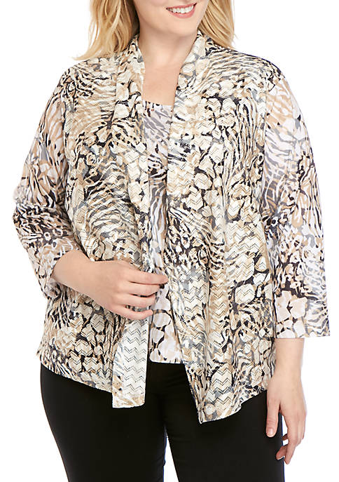 Alfred Dunner Plus Size Classics Animal Print 2Fer