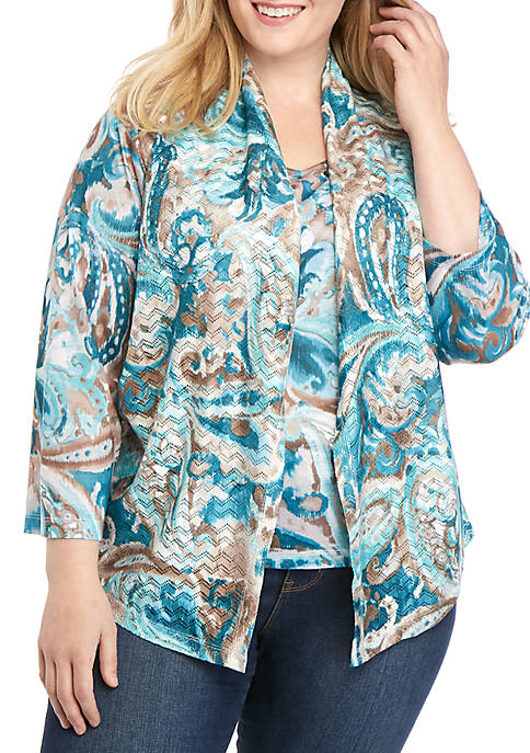 Alfred Dunner Plus Size Scroll Paisley 2Fer Top