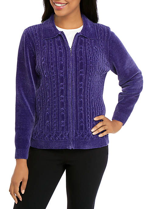 Alfred Dunner Petite Classic Zip Front Chenille Cardigan