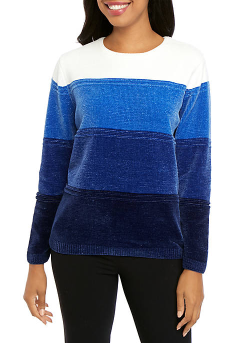 Alfred Dunner Petite Classic Ombre Chenille Sweater