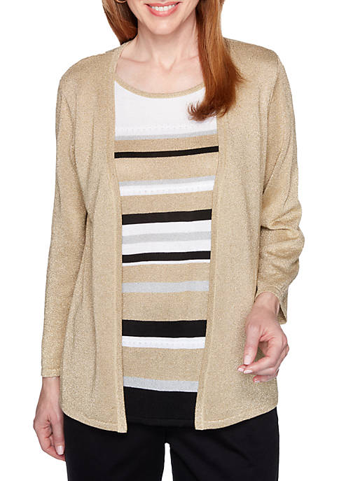 Alfred Dunner Petite Striped 2Fer Sweater