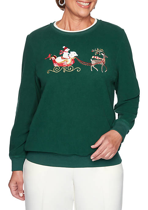 Alfred Dunner Petite Classics Holiday Reindeer and Polar