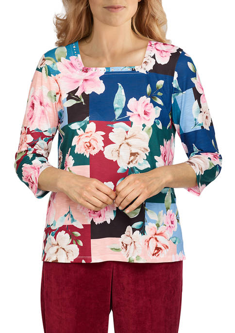 Alfred Dunner Womens Classics Floral Color Block Top
