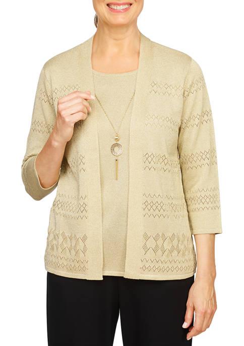 Alfred Dunner Womens Pointelle 2Fer Sweater