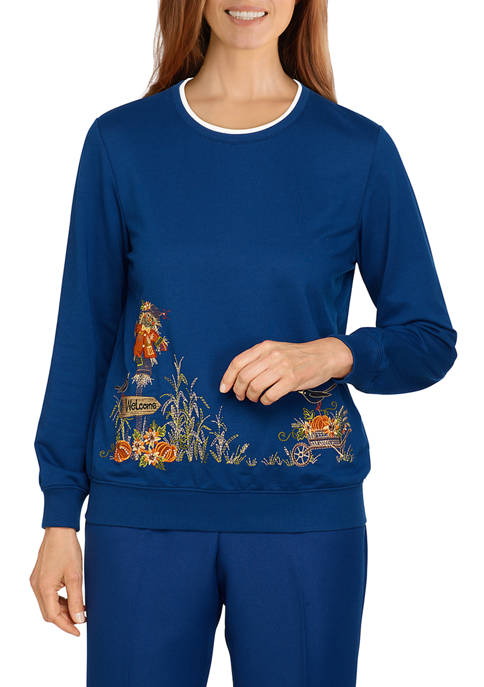 Alfred Dunner Womens Classics Scarecrow Border Top