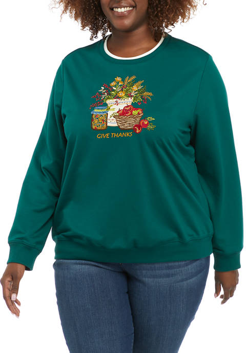 Alfred Dunner Plus Size Classics Long Sleeve Crew