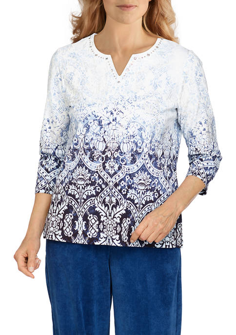 Alfred Dunner Petite Classics Ombré Medallion Knit Top