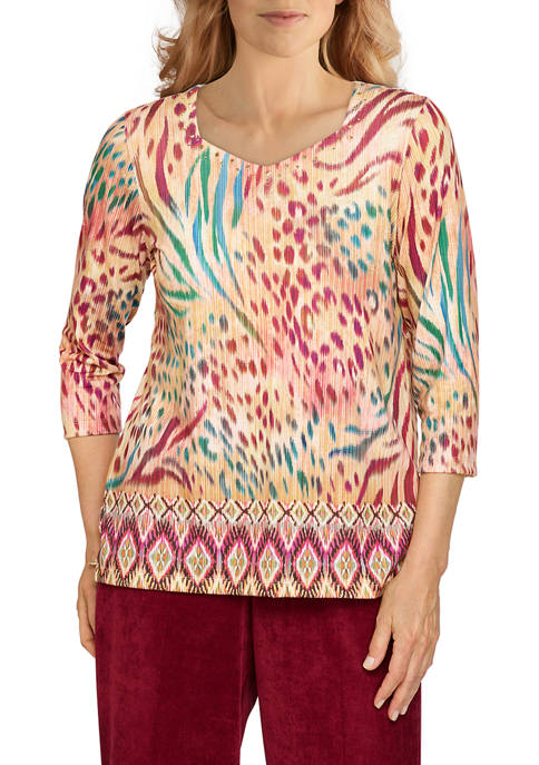 Alfred Dunner Petite Classics Animal Skin Knit Top