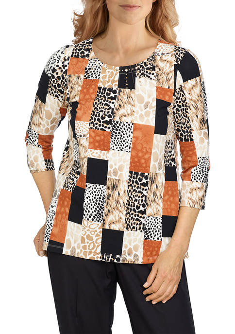 Alfred Dunner Petite Classics Skin Boxes Knit Top