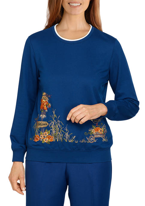 Alfred Dunner Petite Classics Scarecrow Border Top