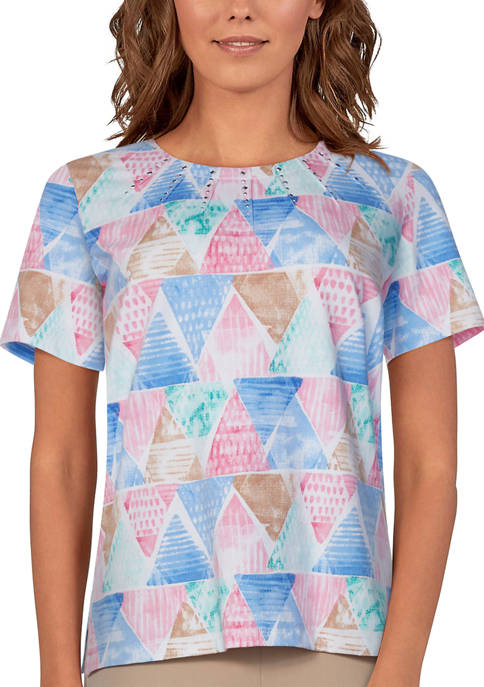 Alfred Dunner Womens Classics Short Sleeve Triangle Watercolor