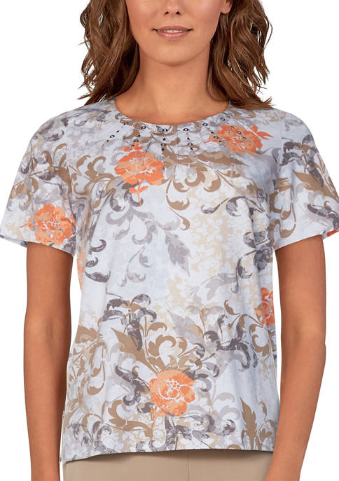 Alfred Dunner Womens Classics Short Sleeve Scroll Floral