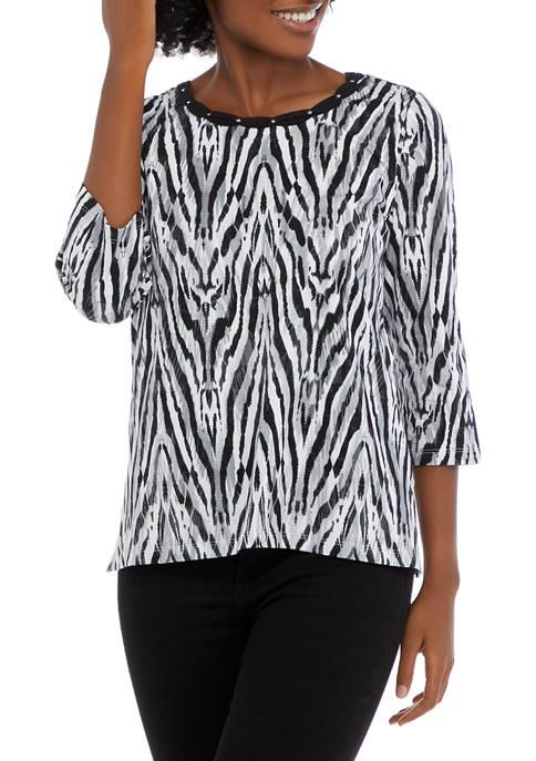 Alfred Dunner Womens 3/4 Sleeve Zebra Print Knit