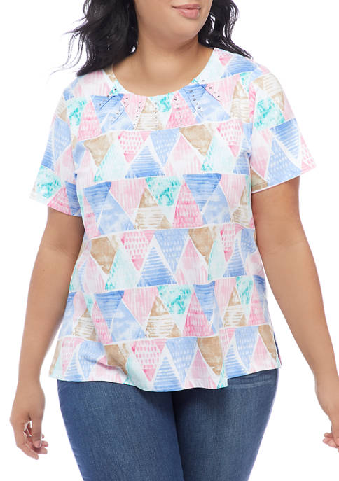 Alfred Dunner Plus Size Classics Triangle Watercolor Print