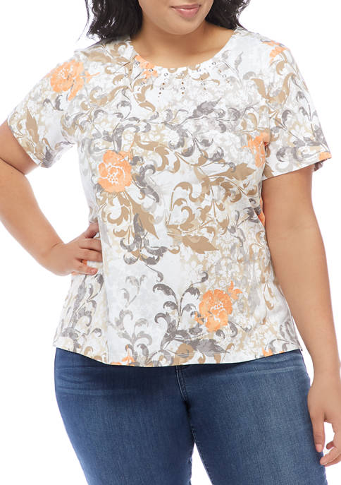 Alfred Dunner Plus Size Classics Neutral Scroll Floral