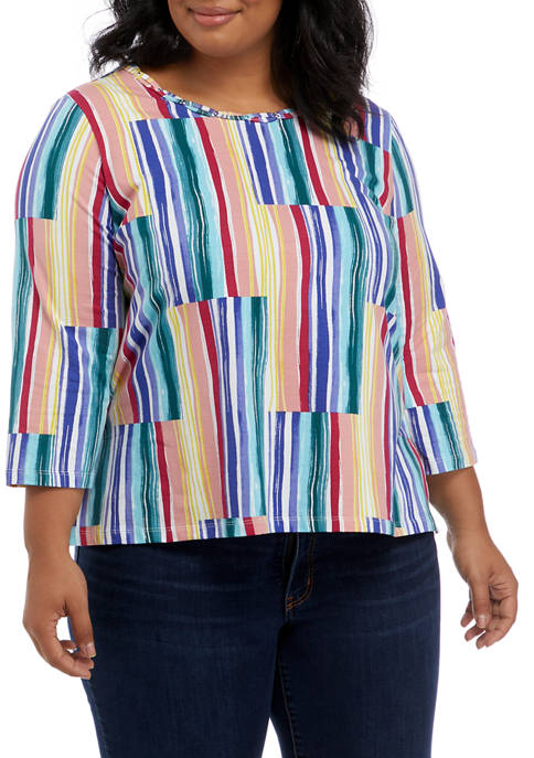 Alfred Dunner Plus Size Key Items Patched Stripe