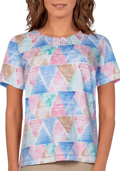 Alfred Dunner Petite Classics Short Sleeve Triangle Watercolor