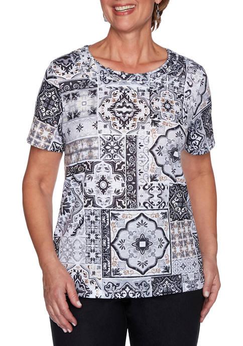 Alfred Dunner Womens Classics Medallion Patch Print T-Shirt